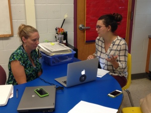 5th Grade Teacher, Kim Lynch, previewing the new Socrative updates with Charlotte Duncan of Mastery Connect.